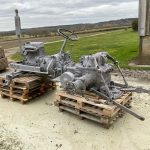 tractor engine blasted